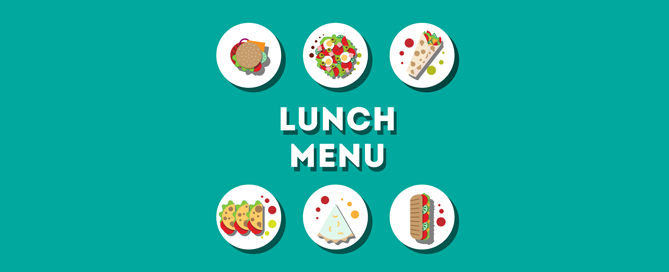 Lunch Menu - vector graphic with 6 plates of food